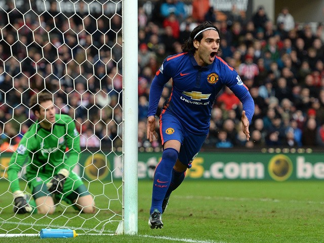 Radamel Falcao of Manchester United celebrates scoring his team's first goal during the Barclays Premier League match between Stoke City and Manchester United at Britannia Stadium on January 1, 2015
