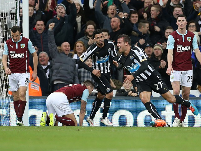 Newcastle United's English defender Steven Taylor celebrates scoring the opening goal of the English Premier League football match between Newcastle United and Burnley at St James' Park in Newcastle-upon-Tyne, north east England, on January 1, 2015