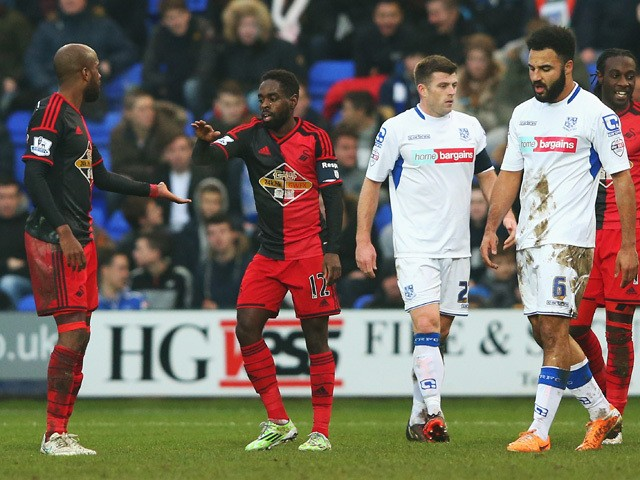 Nathan Dyer of Swansea City celebrates scoring the opening goal during the FA Cup Third Round match between Tranmere Rovers and Swansea City at Prenton Park on January 3, 2015