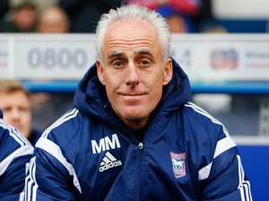 Ipswich Town manager Mick McCarthy looks on before kick off during the Sky Bet Championship match between Ipswich Town and Derby County at Portman Road on January 10, 2015