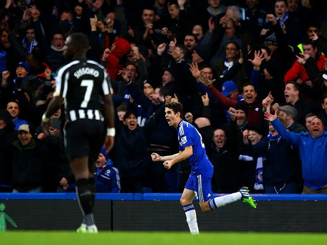 Oscar of Chelsea celebrates after scoring the opening goal during the Barclays Premier League match between Chelsea and Newcastle United at Stamford Bridge on January 10, 2015