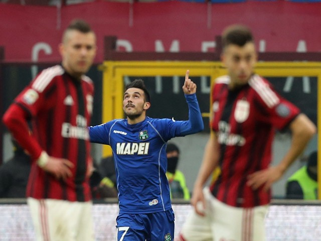 Nicola Sansone of Sassuolo celebrates the equalizing goal during the Serie A match between AC Milan and US Sassuolo Calcio at Stadio Giuseppe Meazza on January 6, 2015