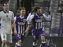 Toulouse's Danish forward Martin Braithwaite celebrates after scoring during the French L1 football match Toulouse vs Bastia on January 17, 2015