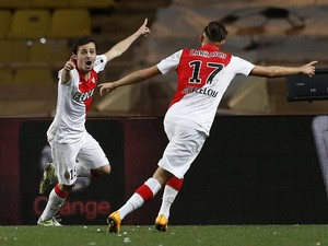 Monaco's Portuguese midfielder Bernardo Silva (L) celebrates with Belgian midfielder Yannick Ferreira Carrasco after scoring a goal with during the French L1 football match Monaco (ASM) vs Nantes (FCN) on January 17, 2015