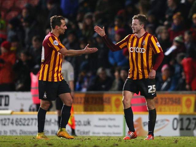 Andy Halliday of Bradford City celebrates after scoring the third goal during the FA Cup Third Round Replay match between Bradford City and Millwall at Coral Windows Stadium, Valley Parade on January 14, 2015