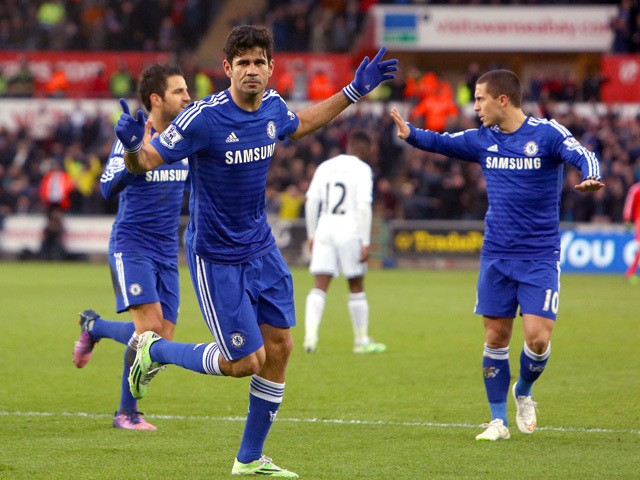 Chelseas Brazilian-born Spanish striker Diego Costa celebrates scoring his team's second goal during the English Premier League football match between Swansea City and Chelsea at The Liberty Stadium in Swansea, south Wales, on January 17, 2015