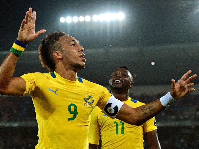 Gabon's forward Pierre-Emerick Aubameyang celebrates after scoring a goal during the 2015 African Cup of Nations group A football match between Burkina Faso and Gabon at Bata Stadium in Bata on January 17, 2015