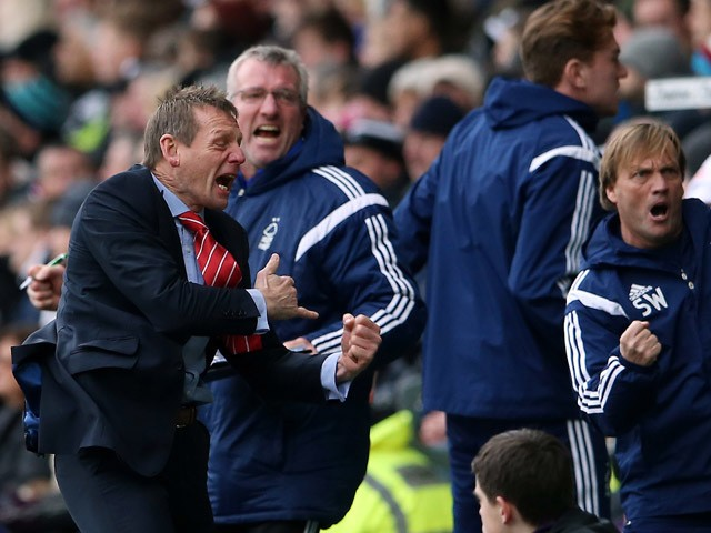 Nottingham Forest manager Stuart Pearce celebrates after their first goal during the Sky Bet Championship Match between Derby County and Nottingham Forest at iPro Stadium on January 17, 2015
