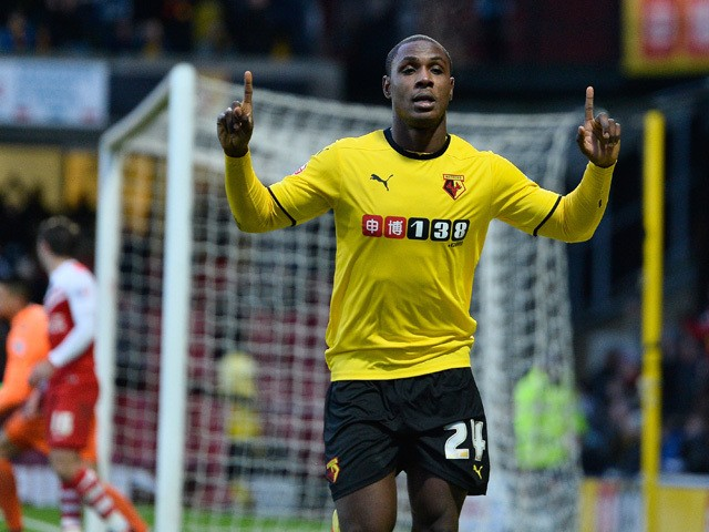 Odion Ighalo of Watford celebrates scoring the fourth goal during the Sky Bet Championship match between Watford and Charlton Athletic at Vicarage Road on January 17, 2015
