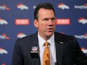Head Coach Gary Kubiak of the Denver Broncos addresses the media during his introduction press conference at Dove Valley on January 20, 2015