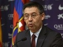 Barcelona's President Josep Maria Bartomeu gives a press conference at the Camp Nou stadium in Barcelona on January 7, 2015