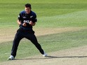 Trent Boult of New Zealand celebrates taking the wicket of Mahela Jayawardene of Sri Lanka during the One Day International match between New Zealand and Sri Lanka at University Oval on January 23, 2015