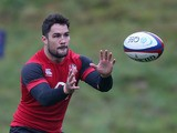 Brad Barritt catches the ball during the England training session held at Pennyhill Park on November 25, 2014