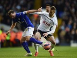 Daniel Drinkwater of Leicester City and Roberto Soldado of Spurs compete for the ball during the FA Cup Fourth Round match on January 24, 2015