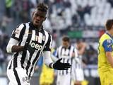 Juventus' French midfielder Labile Paul Pogba celebrates after scoring during the Italian Serie A football match Juventus Vs Chievo Verona o