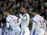 Lyon's French forward Alexandre Lacazette celebrates after scoring during the French L1 football match Olympique Lyonnais (OL) vs FC Metz (FCM) on January 25, 2015