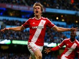 Patrick Bamford of Middlesbrough celebrates after scoring the opening goal during the FA Cup Fourth Round match against Manchester City on January 24, 2015