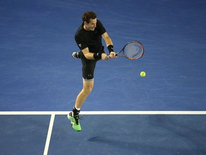 Andy Murray plays a backhand stroke during the fourth-round Australian Open match against Grigor Dimitrov in Melbourne on January 25, 2015