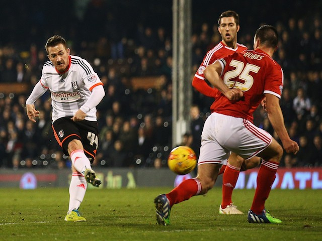 Ross McCormack of Fulham (L) scores their second goal during the Sky Bet Championship match between Fulham and Nottingham Forest at Craven Cottage on January 21, 2015