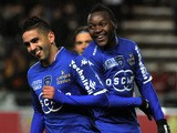 Bastia's French Algerian midfielder Ryad Boudebouz celebrates after scoring during the French L1 football match between Lens and Bastia at the Licorne stadium in Amiens on January 31, 2014
