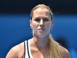 Slovakia's Dominika Cibulkova walks on court during her women's singles match against Serena Williams of the US on day ten of the 2015 Australian Open tennis tournament in Melbourne on January 28, 2015