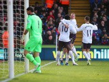 Romelu Lukaku of Everton celebrates scoring the opening goal with team mates during the Barclays Premier League match between Crystal Palace and Everton at Selhurst Park on January 31, 2015