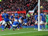 Wes Morgan #5 of Leicester City scores an own goal to give Manchester United a 3-0 first half lead during the Barclays Premier League match between Manchester United and Leicester City at Old Trafford on January 31, 2015