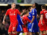 Martin Skrtel of Liverpool clashes with Diego Costa of Chelsea during the Capital One Cup Semi-Final second leg on January 27, 2015