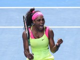 Serena Williams of the United States celebrates winning her semifinal match against Madison Keys of the United States during day 11 of the 2015 Australian Open at Melbourne Park on January 29, 2015