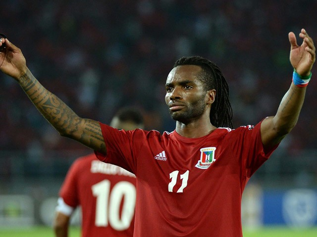 Equatorial Guinea's midfielder Javier Balboa celebrates after scoring a goal during the 2015 African Cup of Nations quarter-final football match between Equatorial Guinea and Tunisia in Bata on January 31, 2015