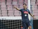 Napoli's Italian forward Manolo Gabbiadini celebrates after scoring during the Italian Serie A football match SSC Napoli vs Udinese Calcio on February 8, 2015