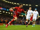 Rhys Webb of Wales goes over to score the opening try during the RBS Six Nations match between Wales and England at the Millennium Stadium on February 6, 2015