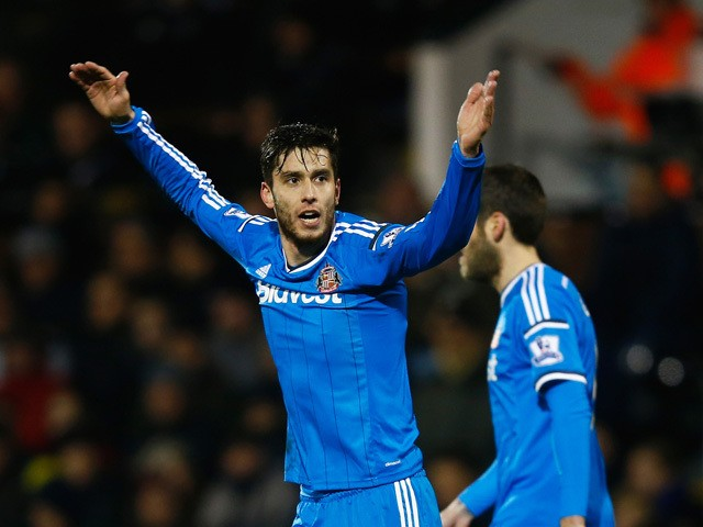 Ricardo Alvarez of Sunderland celebrates scoring his team's second goal during the FA Cup Fourth Round Replay match between Fulham and Sunderland at Craven Cottage on February 3, 2015