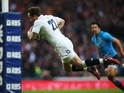 Danny Cipriani of England goes over to score his try during the RBS Six Nations match between England and Italy at Twickenham Stadium on February 14, 2015