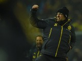Dortmund's head coach Juergen Klopp celebrates during the German first division Bundesliga football match Borussia Dortmund v 1 FSV Mainz 05 in Dortmund, Germany, on February 13, 2015