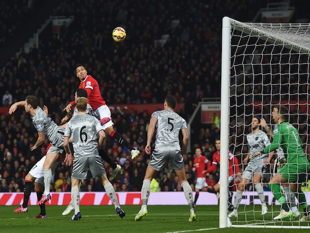 Chris Smalling of Manchester United scores the opening goal during the Barclays Premier League match against Burnley on February 11, 2015
