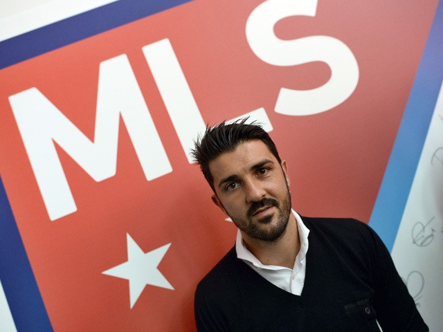 New York City Football Club (NYCFC) player David Villa poses during an event to unveil Major League Soccer (MLS) new logo, in New York on September 18, 2014