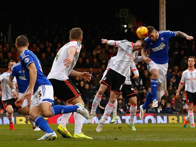Daryl Murphy of Ipswich Town heads the ball to score his team's first goal during the Sky Bet Championship match between Fulham and Ipswich Town at Craven Cottage on February 14, 2015