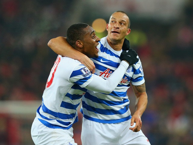 Bobby Zamora of QPR celebrates scoring their second goal with Leroy Fer of QPR during the Barclays Premier League match between Sunderland and Queens Park Rangers at Stadium of Light on February 10, 2015