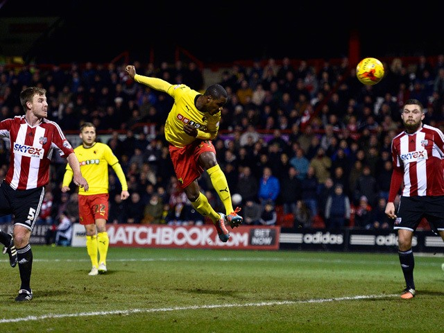 Odion Ighalo of Watford scores Watford's first goal during the Sky Bet Championship match between Brentford and Watford at Griffin Park on February 10, 2015