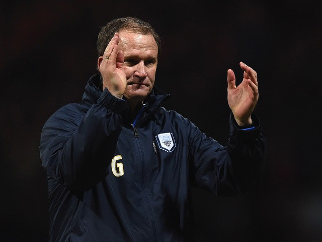 Manager Simon Grayson of Preston North End applauds the fans after the FA Cup Fifth round match between Preston North End and Manchester United at Deepdale on February 16, 2015