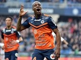 Montpellier's French midfielder Bryan Dabo celebrates after scoring a goal during the French L1 football match between Montpellier (MHSC) and Nice (OGNC) on March 1, 2015