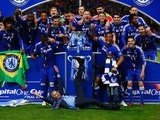 Chelsea players and manager Jose Mourinho celebrate their victory in the Capital One Cup final at Wembley on March 1, 2015