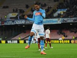 Jonathan De Guzman of Napoli celebrates after scoring goal 1-0 during the UEFA Europa League Round of 32 football match against Trabzonspor on February 26, 2015