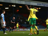 Cameron Jerome of Norwich City celebrates after scoring his teams equalising goal during the Sky Bet Championship match between Blackburn Rovers and Norwich City at Ewood Park on February 24, 2015