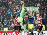 PSV Eindhoven goalkeeper Jeroen Zoet makes a save during a Dutch Eredivisie football match between PSV Eindhoven and Ajax Amsterdam in Eindhoven, on March 1, 2015