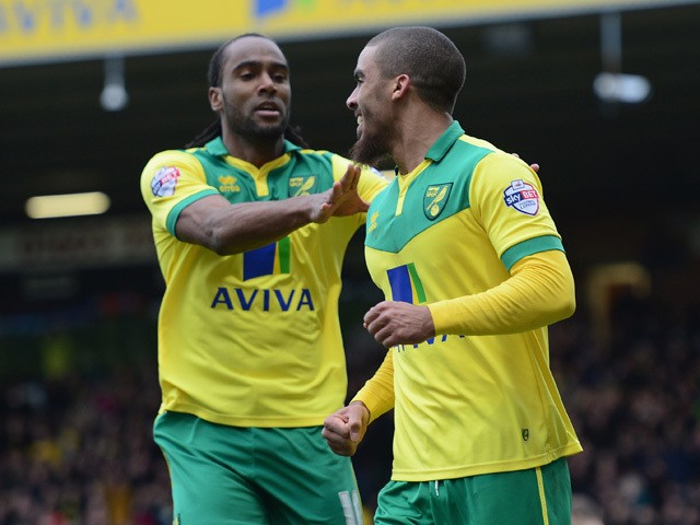 Lewis Grabban of Norwich City celebrates his goal during the Sky Bet Championship match between Norwich City and Ipswich Town at Carrow Road on March 1, 2015