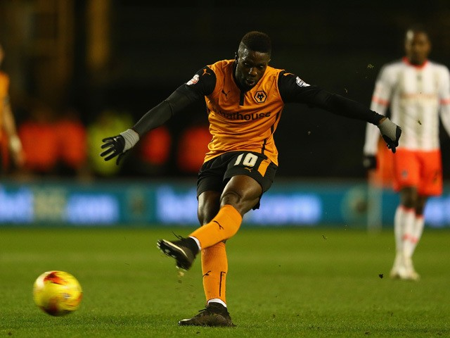 Bakary Sako of Wolverhampton shoots during the Sky Bet Championship match between Wolverhampton Wanderers and Fulham at Molineux on February 24, 2015