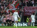Real Madrid's Portuguese forward Cristiano Ronaldo (C) reacts after Athletic Bilbao scored during the Spanish league football match on March 7, 2015