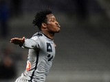 Marseille's Belgian forward Michy Batshuayi celebrates after scoring his team's fourth goal during the French L1 football match between Toulouse and Marseille in Toulouse, southwestern France, on March 6, 2015